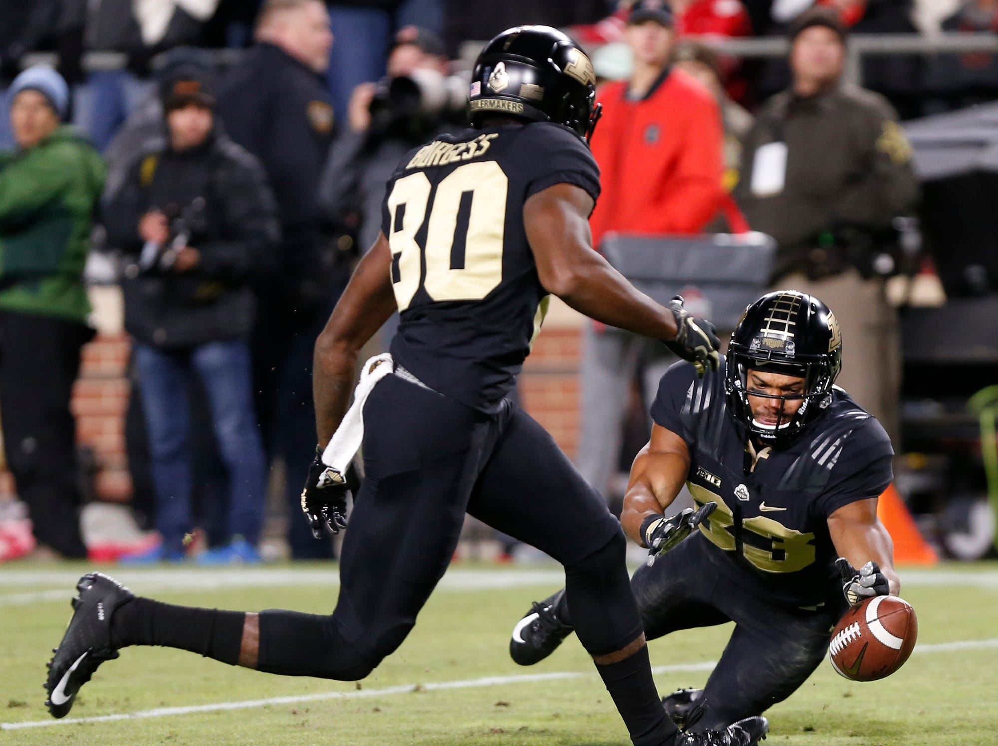 Malcolm Dotson of Purdue dives to keep the ball from crossing the goal line on punt against Ohio State Saturday, October 20, 2018, at Ross-Ade Stadium. Purdue upset No. 2 ranked Ohio State 49-20.