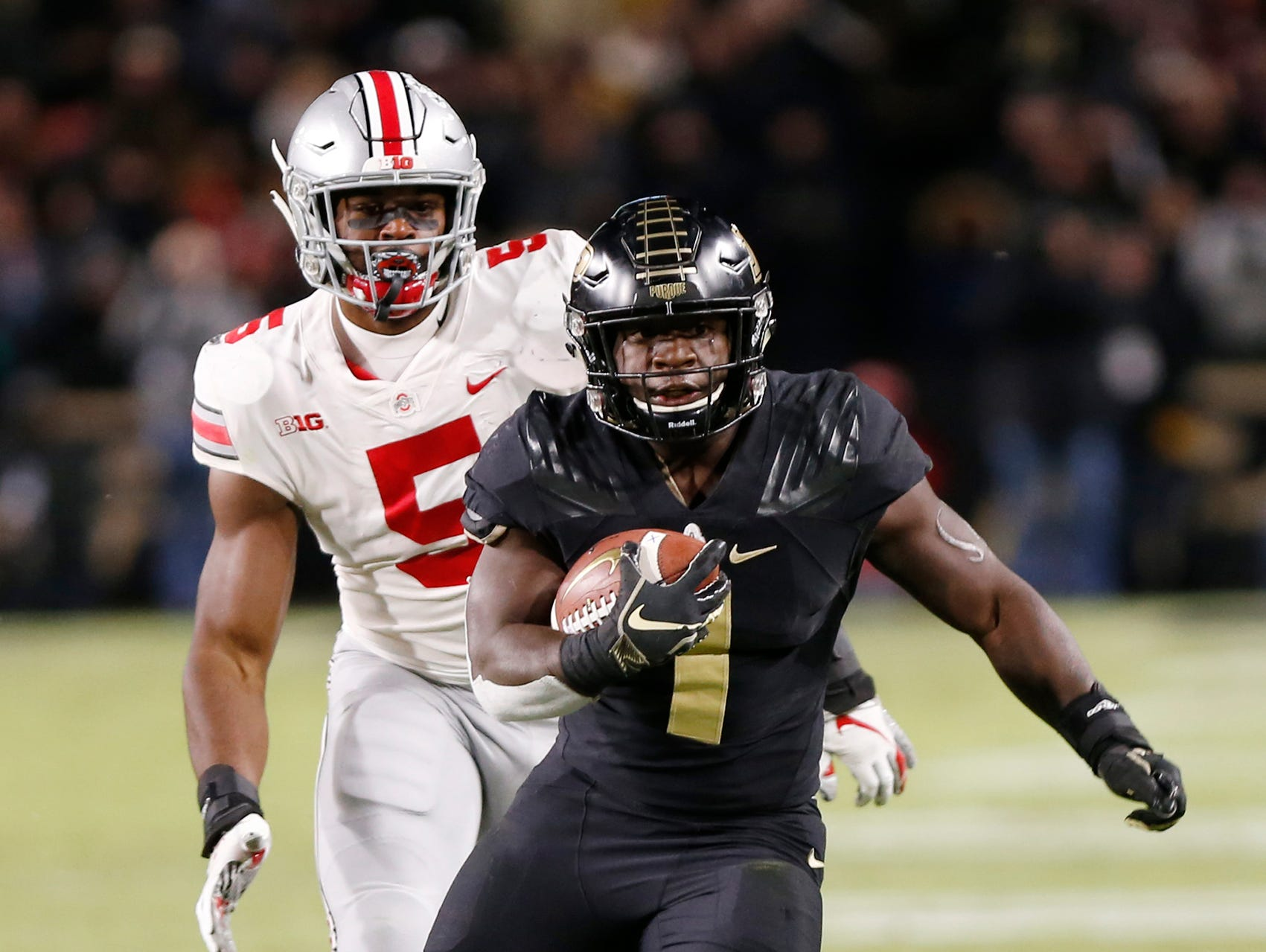 D. J. Knox of Purdue with a first half carry against Ohio State Saturday, October 20, 2018, at Ross-Ade Stadium. Purdue upset No. 2 ranked Ohio State 49-20.