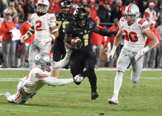 Purdue's D.J. Knox rushed for a 128 yards and three touchdowns against Ohio State on Saturday.