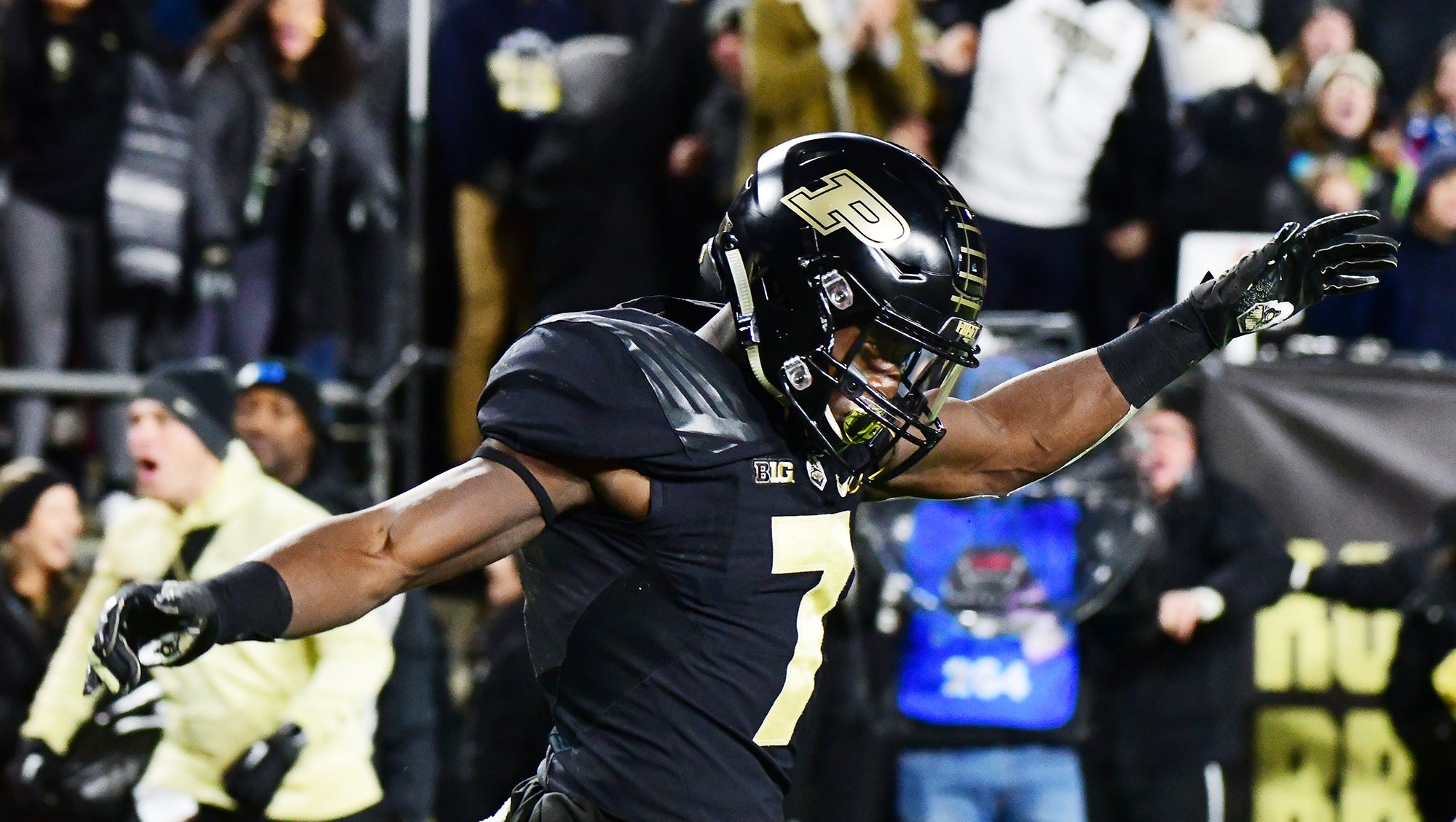 Isaac Zico of Purdue celebrates after his touchdown reception in the first half against Ohio State Saturday, October 20, 2018, at Ross-Ade Stadium.
