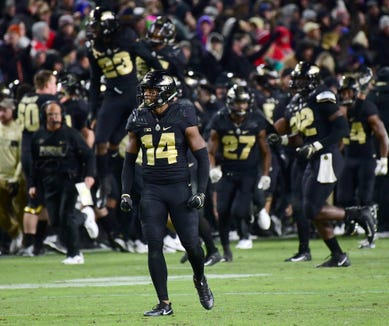 Purdue's Antonio Blackmon reacts to a fourth down stop of OSU as Purdue upsets Ohio State in West Lafayette on Saturday October 20, 2018.