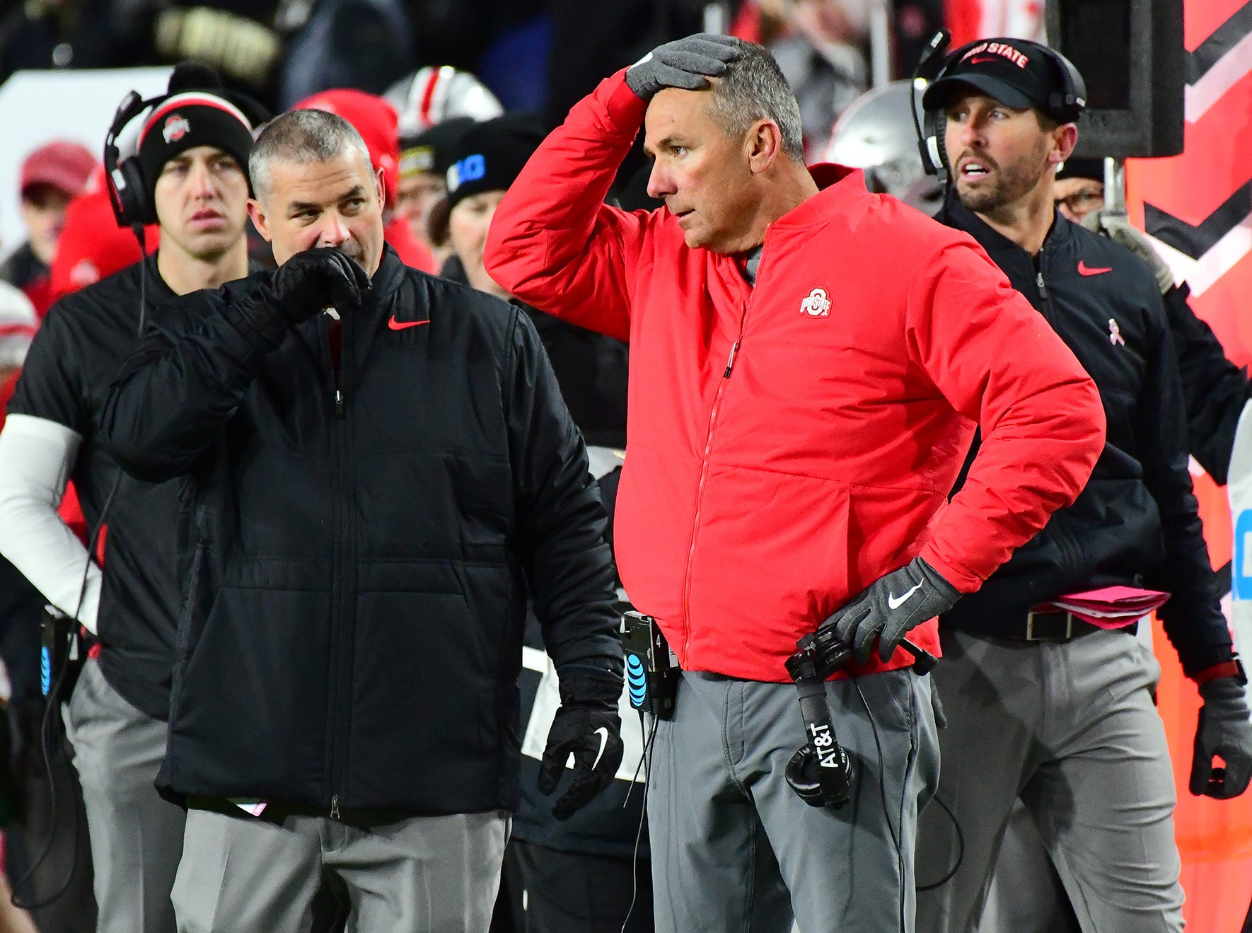 OSU coach Urban Meyer reacts as Purdue upsets Ohio State in West Lafayette on Saturday October 20, 2018.