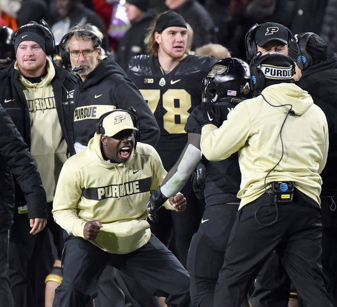 Purdue's sideline reacts as Purdue upsets Ohio State in West Lafayette on Saturday October 20, 2018.