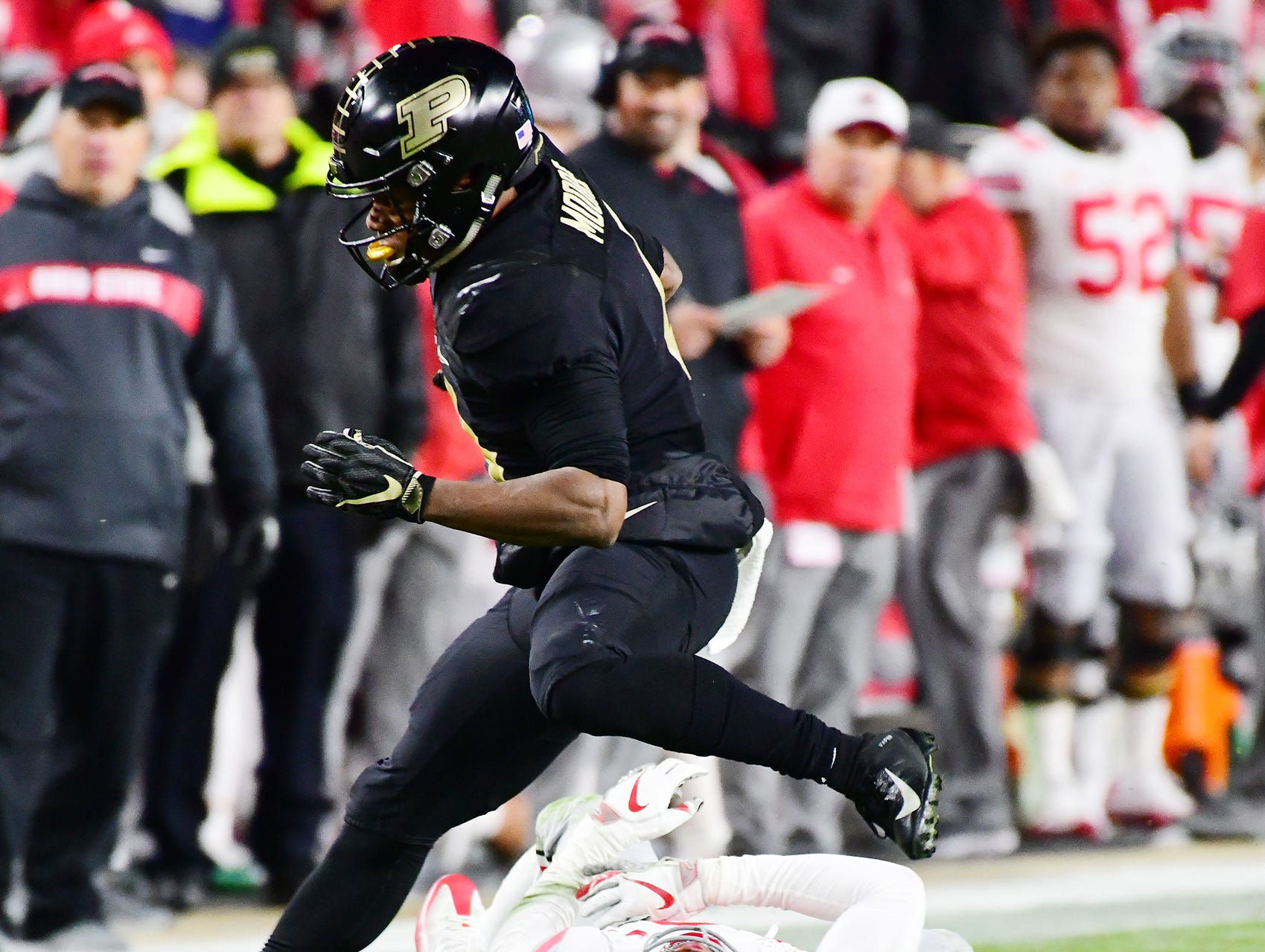 Rondale Moore of Purdue gets past Isaiah Pryor of Ohio State in the first half Saturday, October 20, 2018, at Ross-Ade Stadium. Purdue upset No. 2 ranked Ohio State 49-20.