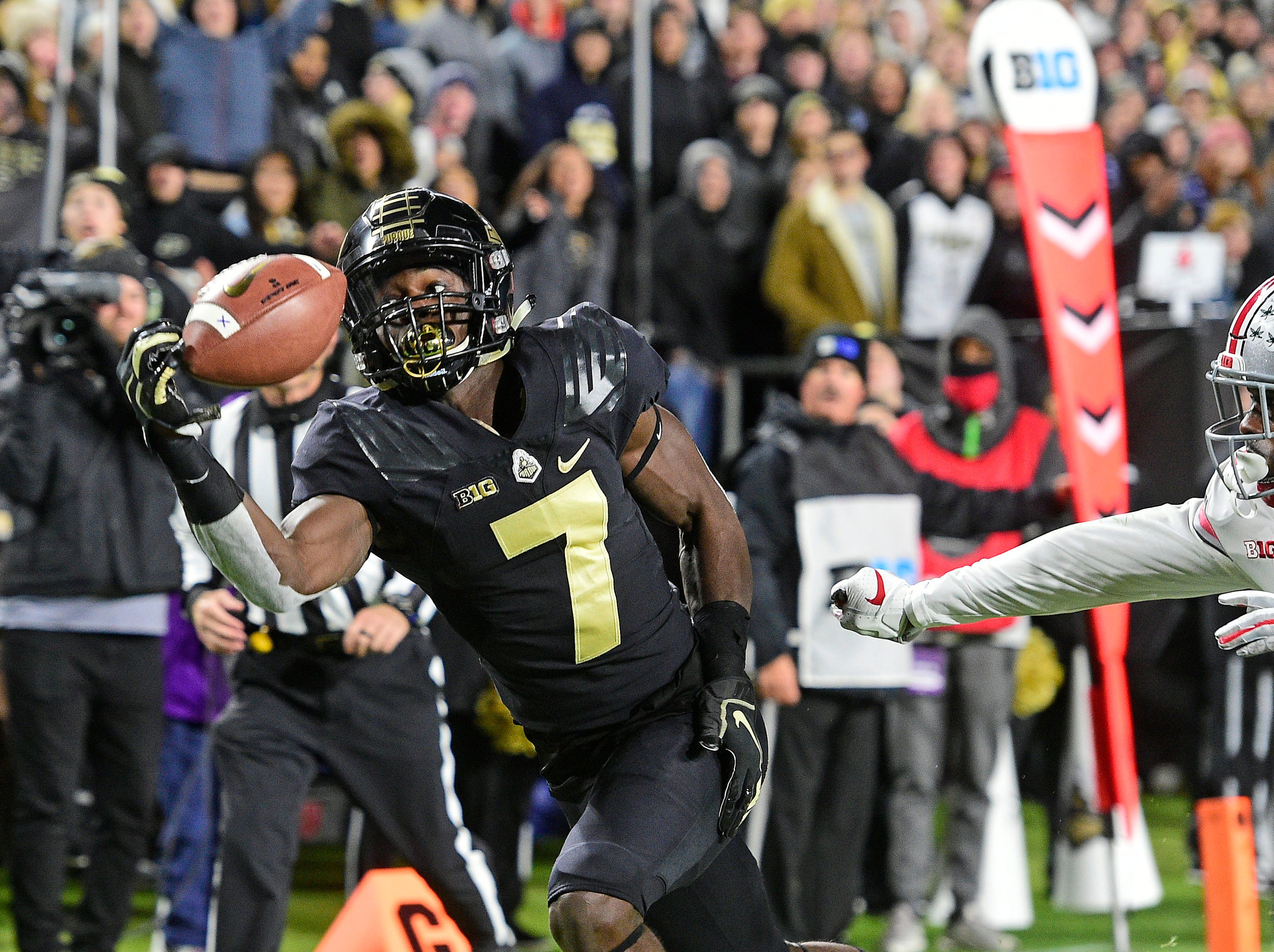 Oct 20, 2018; West Lafayette, IN, USA; Purdue Boilermakers receiver Isaac Zico (7) makes a one handed catch for a first half touchdown against the hit State Buckeyes at Ross-Ade Stadium. Mandatory Credit: Thomas J. Russo-USA TODAY Sports