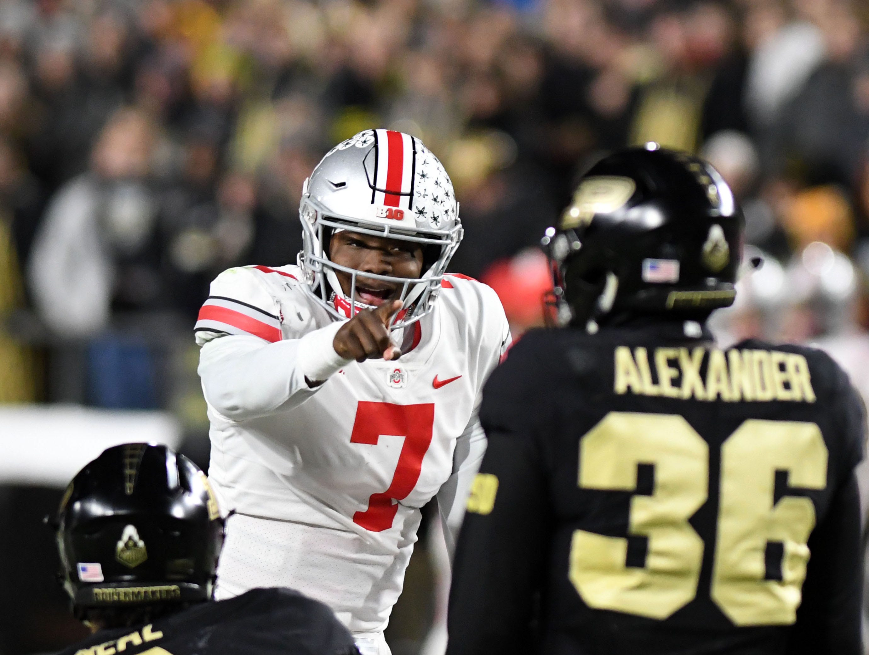Oct 20, 2018; West Lafayette, IN, USA; Ohio State Buckeye quarterback Dwayne Haskins Jr. (7) calls a play at the line in the first half against the Purdue Boilermakers at Ross-Ade Stadium. Mandatory Credit: Thomas J. Russo-USA TODAY Sports