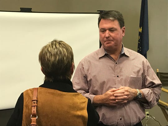 U.S. Rep. Todd Rokita, a Brownsburg Republican, speaks at a town hall at the Frankfort Neighborhood Center on Sunday, Oct. 21. It was the first formal town hall in nearly two years for the congressman, whose term ends at the end of 2018.