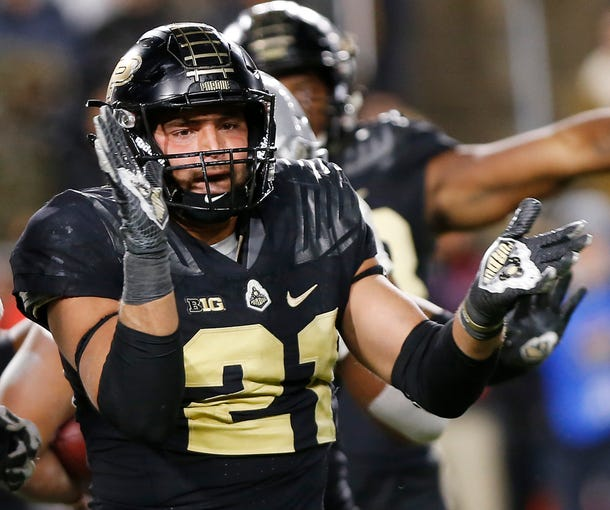 Linebacker Markus Bailey of Purdue reacts after stopping J. K. Dobbins of Ohio State in the third quarter Saturday, October 20, 2018, at Ross-Ade Stadium. Purdue upset the No. 2 ranked Buckeyes 49-20.