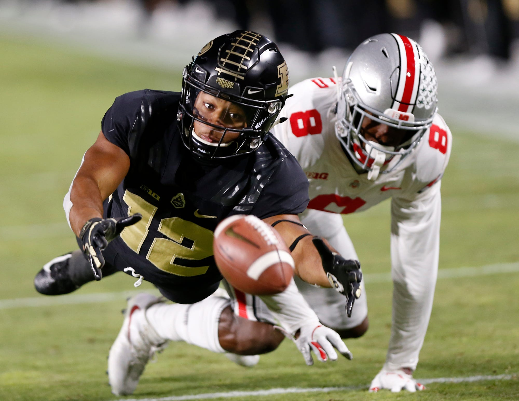 Jared Sparks of Purdue is whistled for offensive pass interference as he tries to make a catch against Kendall Sheffield of Ohio State in the first half Saturday, October 20, 2018, at Ross-Ade Stadium.