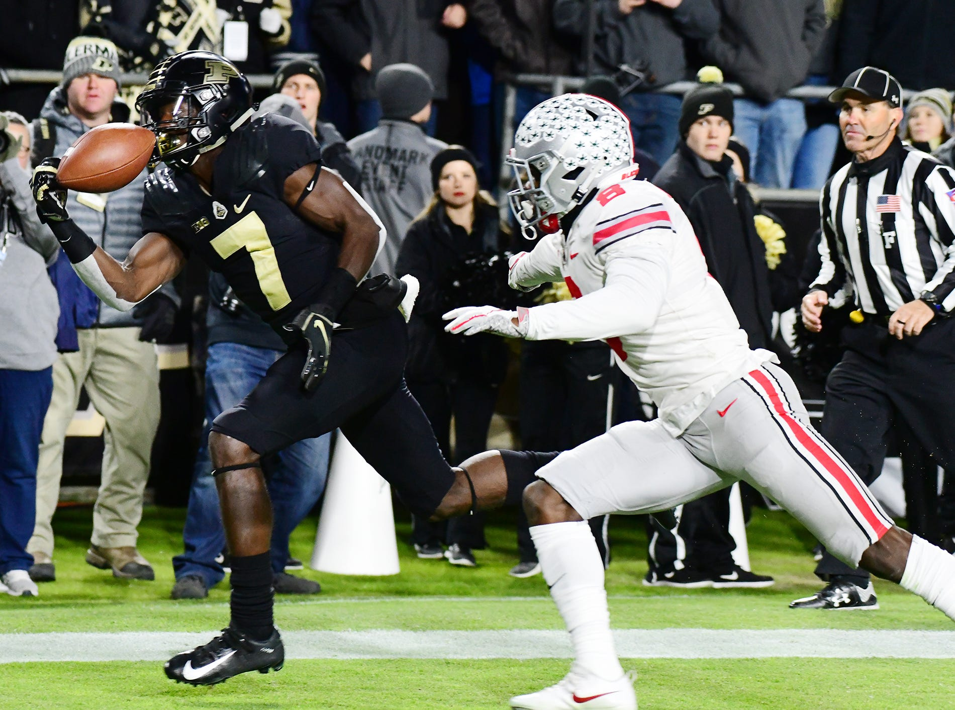 Isaac Zico of Purdue hauls in a touchdown pass in the first half against Ohio State Saturday, October 20, 2018, at Ross-Ade Stadium. Purdue upset No. 2 ranked Ohio State 49-20.