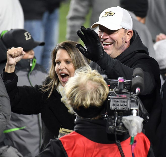Head coach Jeff Brohm and Purdue upsets Ohio State in West Lafayette on Saturday October 20, 2018.
