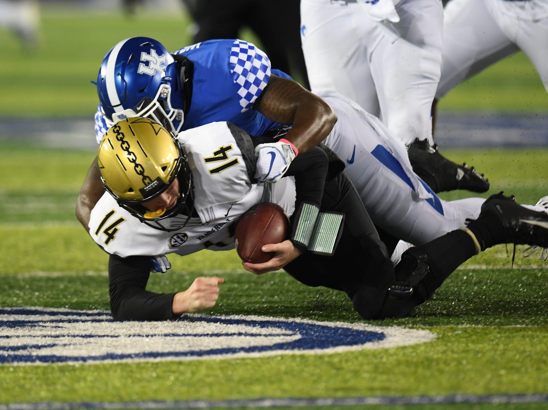"UK SLB Jamar ""Boogie"" Watson gets a sack during the University of Kentucky football game against Vanderbilt at Kroger Field in Lexington, Kentucky on Saturday, October 20, 2018."