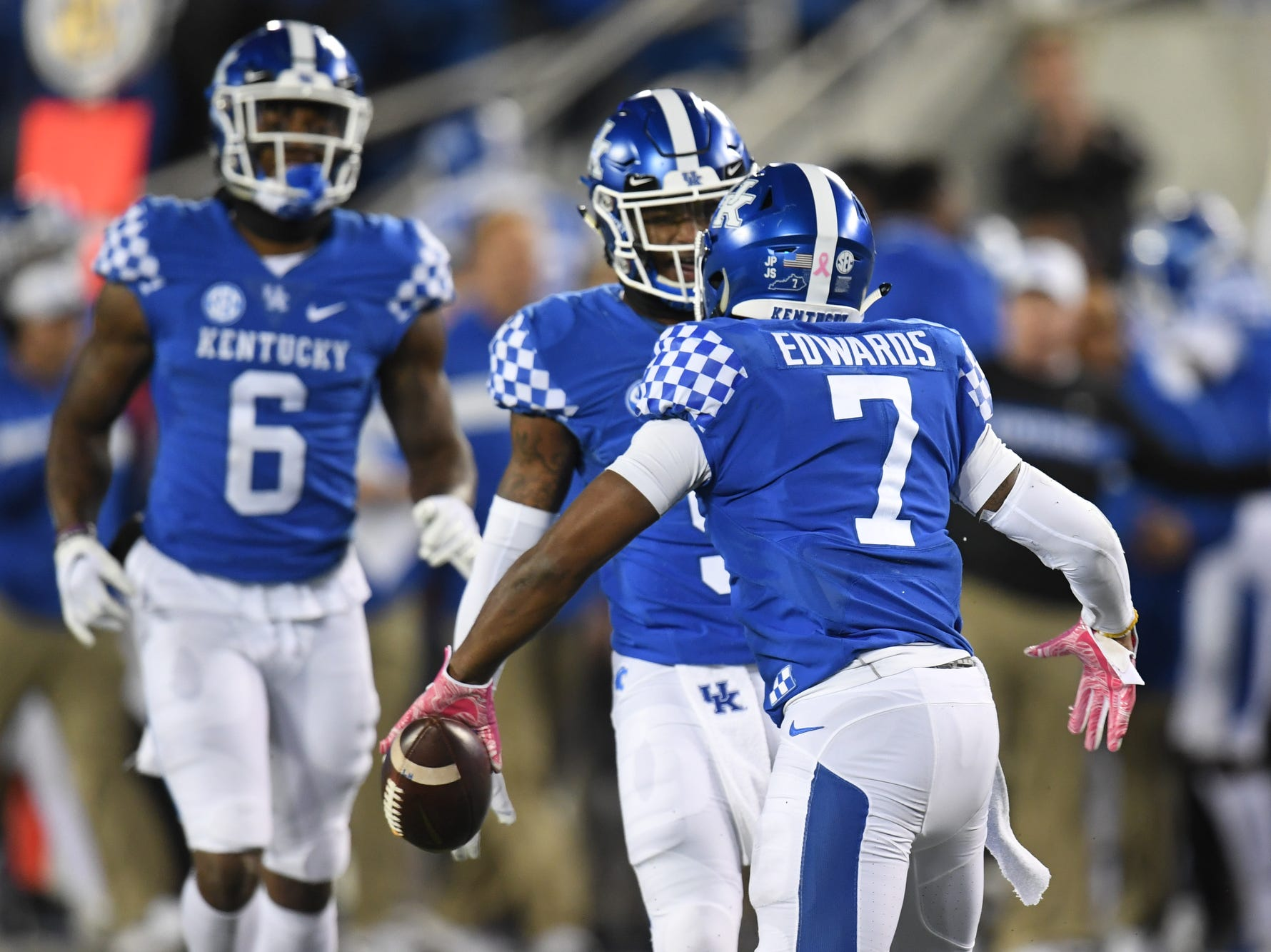 UK SS Mike Edwards celebrates recovering a fumble during the University of Kentucky football game against Vanderbilt at Kroger Field in Lexington, Kentucky on Saturday, October 20, 2018.