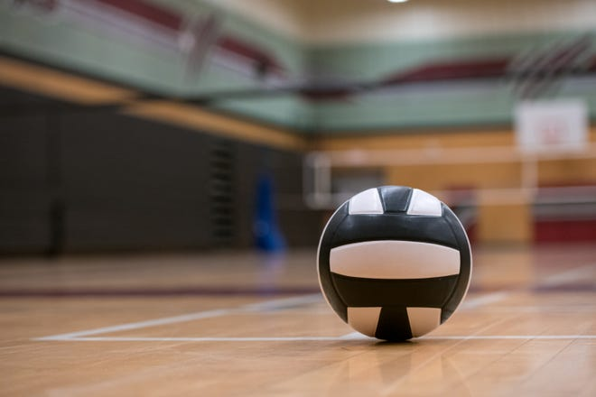 Ball on gym floor with copyspace