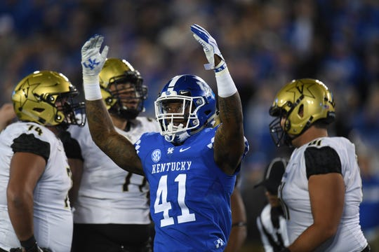 UK DE Josh Allen during the University of Kentucky football game against Vanderbilt at Kroger Field in Lexington, Kentucky on Saturday, October 20, 2018.