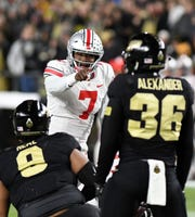 Ohio State quarterback Dwayne Haskins set school records against Purdue for completions (49), attempts (73) and yards (470), but it was all for naught.