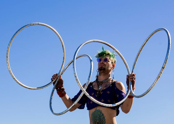 Brandon Shux Rodriguez puts on a prop manipulation performance at Mid South Renaissance Faire the Sunday October 21,2018 in Millington, Tennessee.