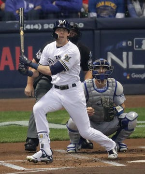 Brewers outfielder Christian Yelich hits home run against the Los Angeles Dodgers in the National League Championship Series.