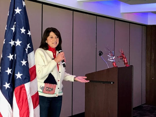 Republican U.S. Senate candidate Leah Vukmir speaks at a Republican Party of Ozaukee County Oktoberfest event Sunday at the River Club of Mequon.