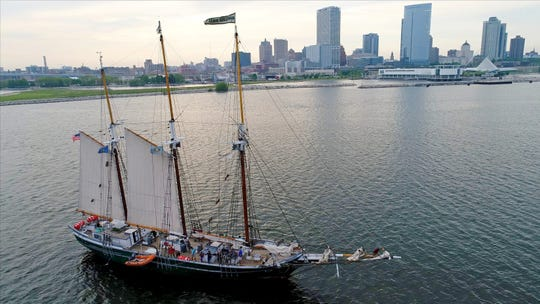 The Denis Sullivan, Discovery World?s tall ship, docks at the museum with zombies in tow this weekend.