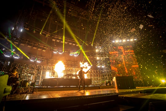 Twenty One Pilots performs at a sold out Fiserv Forum on Oct. 20, 2018.
