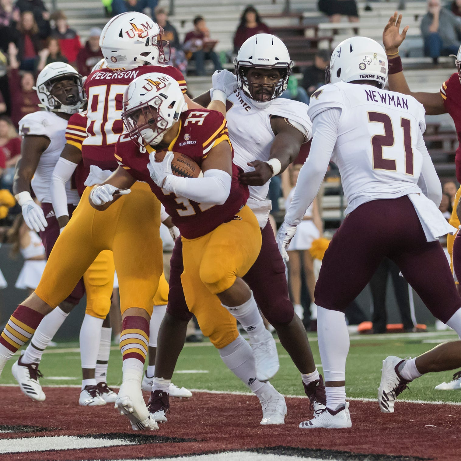 Defense carries ULM to homecoming win over Texas State