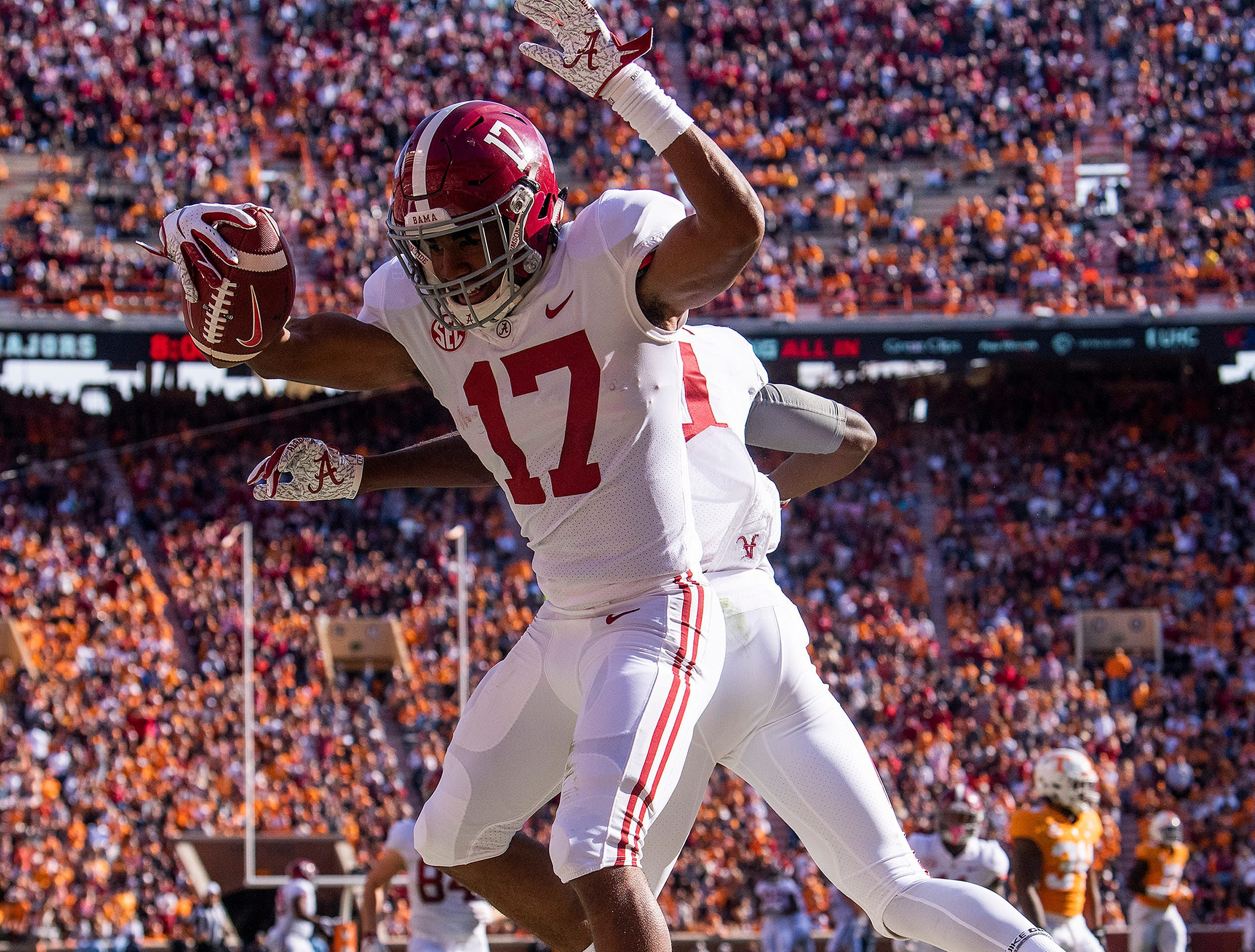 Alabama wide receiver Jaylen Waddle (17) celebrates a touchdown against Tennessee in first half action at Neyland Stadium in Knoxville, Tn., on Saturday October 20, 2018.