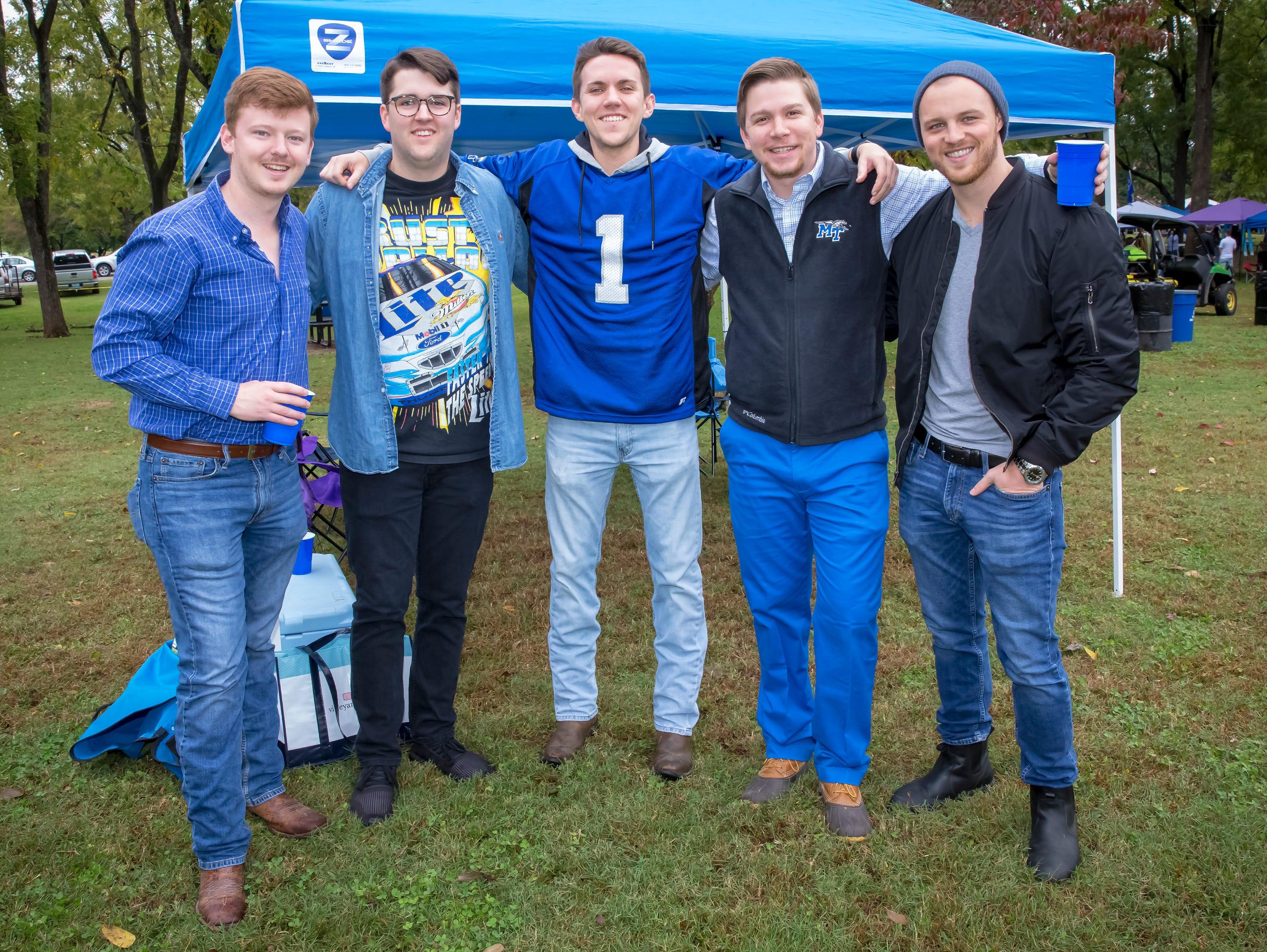 Cody Pratt, Ethan Hall, Patrick Fraser, Seth Sides and Jonathan McNutt  tailgating at MTSU homecoming.
