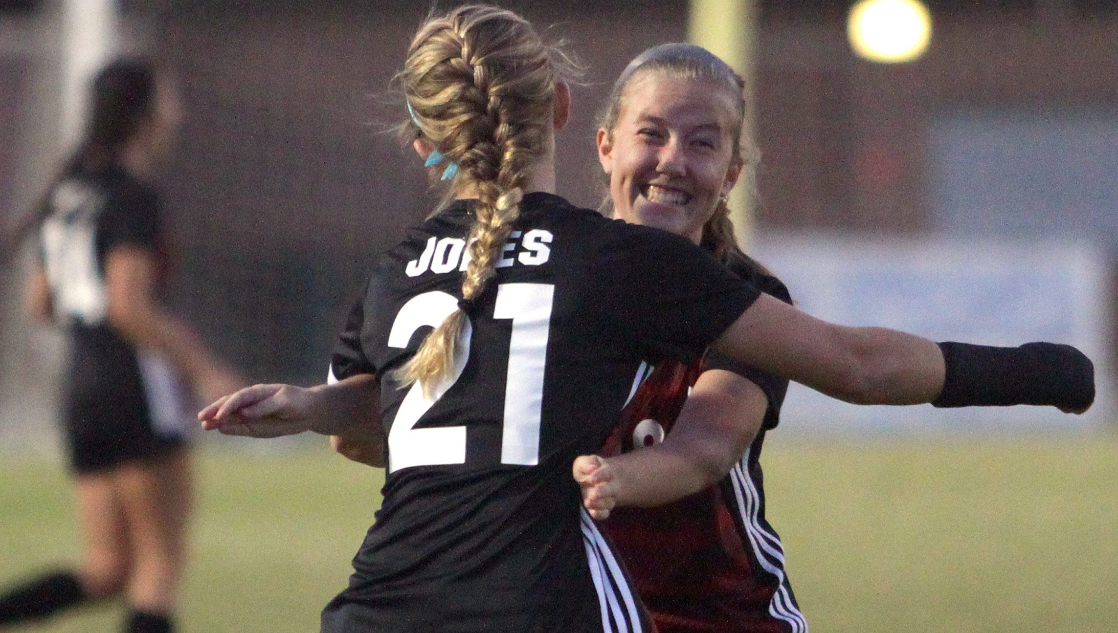 Stewarts Creek's Kaitlin Jones get a hug from Emily Meyer after scoring the games first goal against Soddy-Daily on Saturday, October 20, 2018.