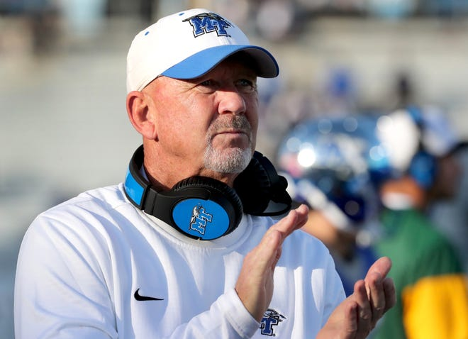 MTSU's head coach Rick Stockstill watches his team from the sidelines during the game against Charlotte during the Homecoming game on Saturday, Oct. 20, 2018.