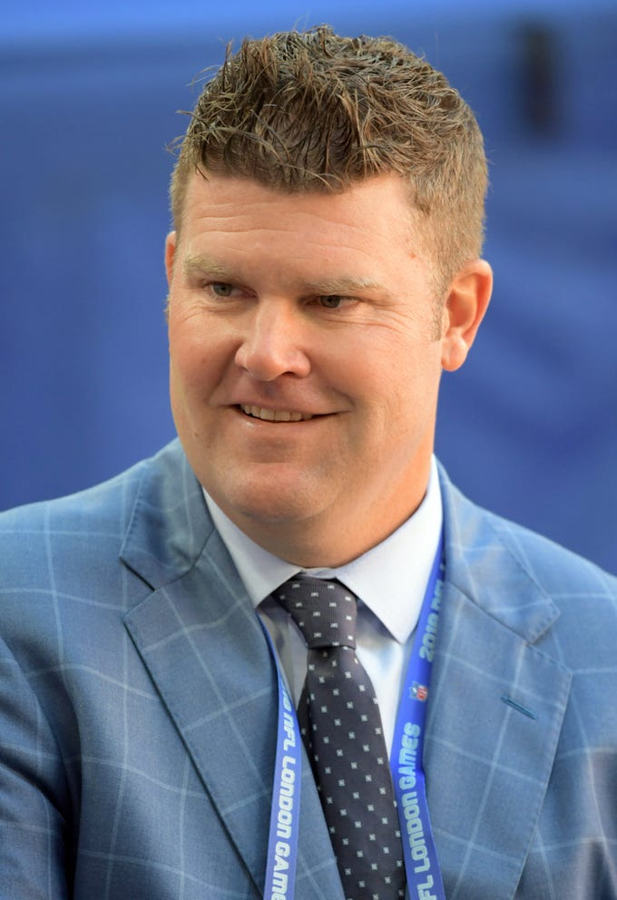 Oct 21, 2018; London, United Kingdom; Tennessee Titans general manager Jon Robinson reacts during an NFL International Series game against the Los Angeles Chargers at Wembley Stadium.