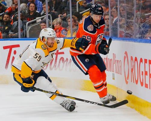 Nhl Nashville Predators At Edmonton Oilers