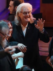 Ricky Skaggs greets friends as he arrives at the Country Music Hall of Fame's CMA Theater for the 2018 Medallion Ceremony on Sunday, Oct. 21, 2018.