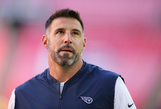 Tennessee Titans head coach Mike Vrabel walks on the field before an NFL football game against Los Angeles Chargers at Wembley stadium in London, Sunday, Oct. 21, 2018.