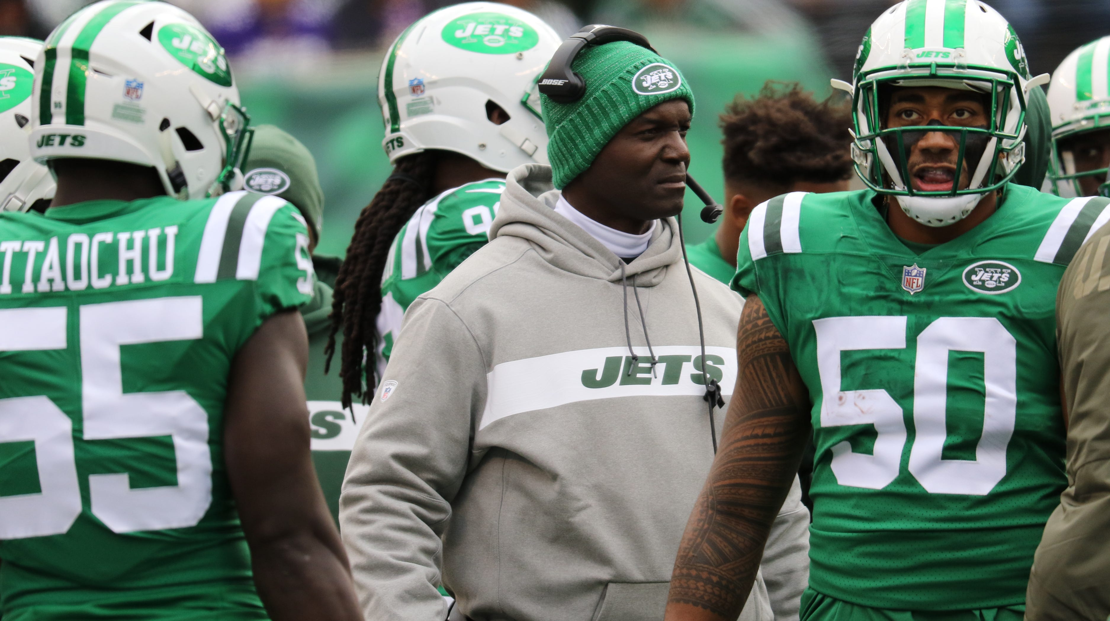 Jets Head Coach, Todd Bowles and Frankie Luvu (50) are shown during the first half.  Sunday, October 21, 2018