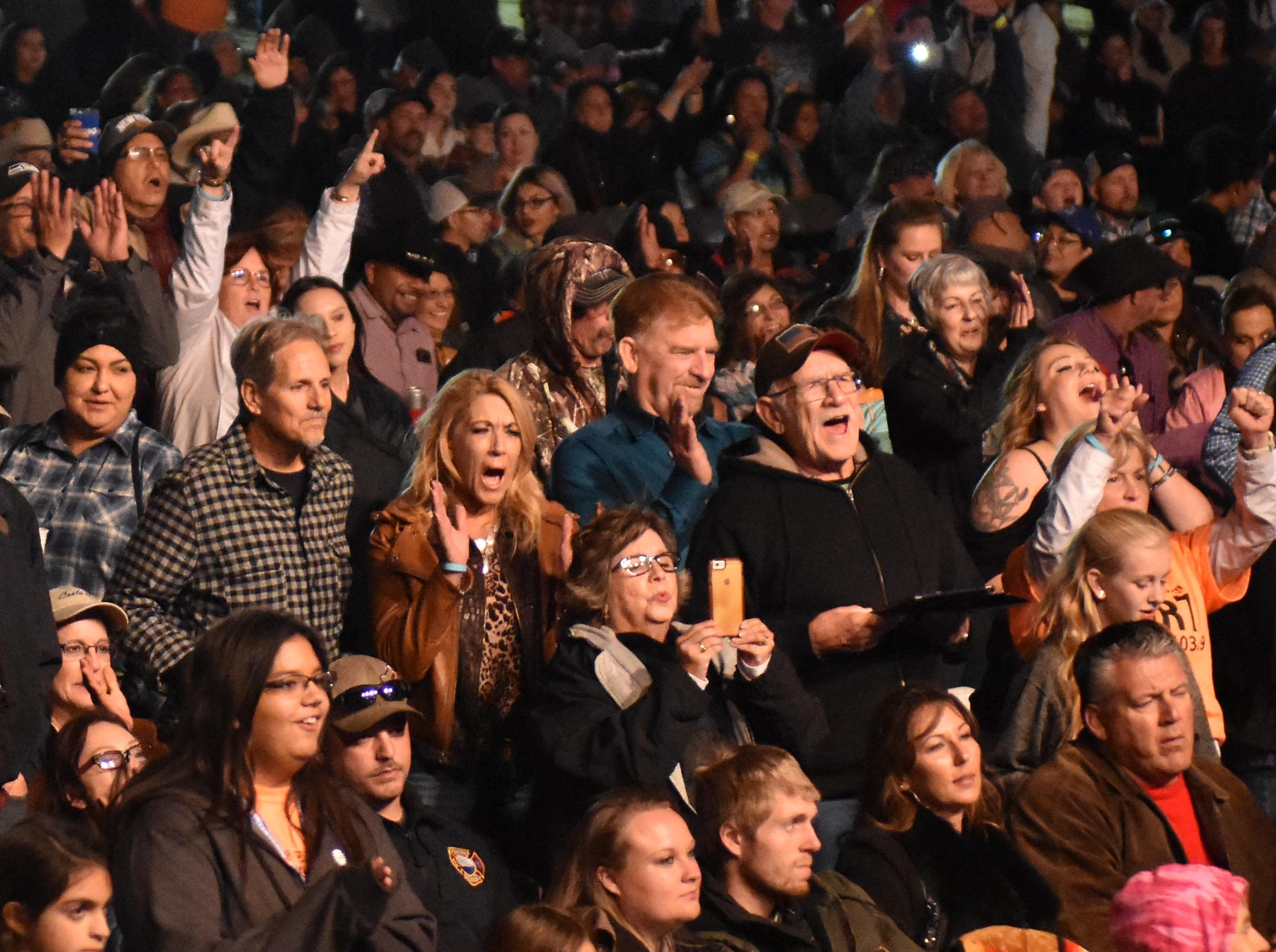 The crowd watching Sawyer Brown reacts during the Las Cruces Country Music Festival on Saturday, Oct. 20, 2018.