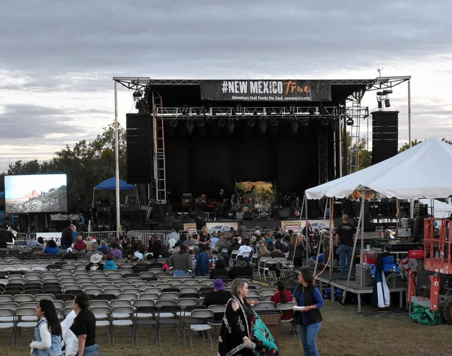 Fans take their seats early at the Main Stage at the Las Cruces Country Music Festival on Saturday, Oct. 20, 2018.