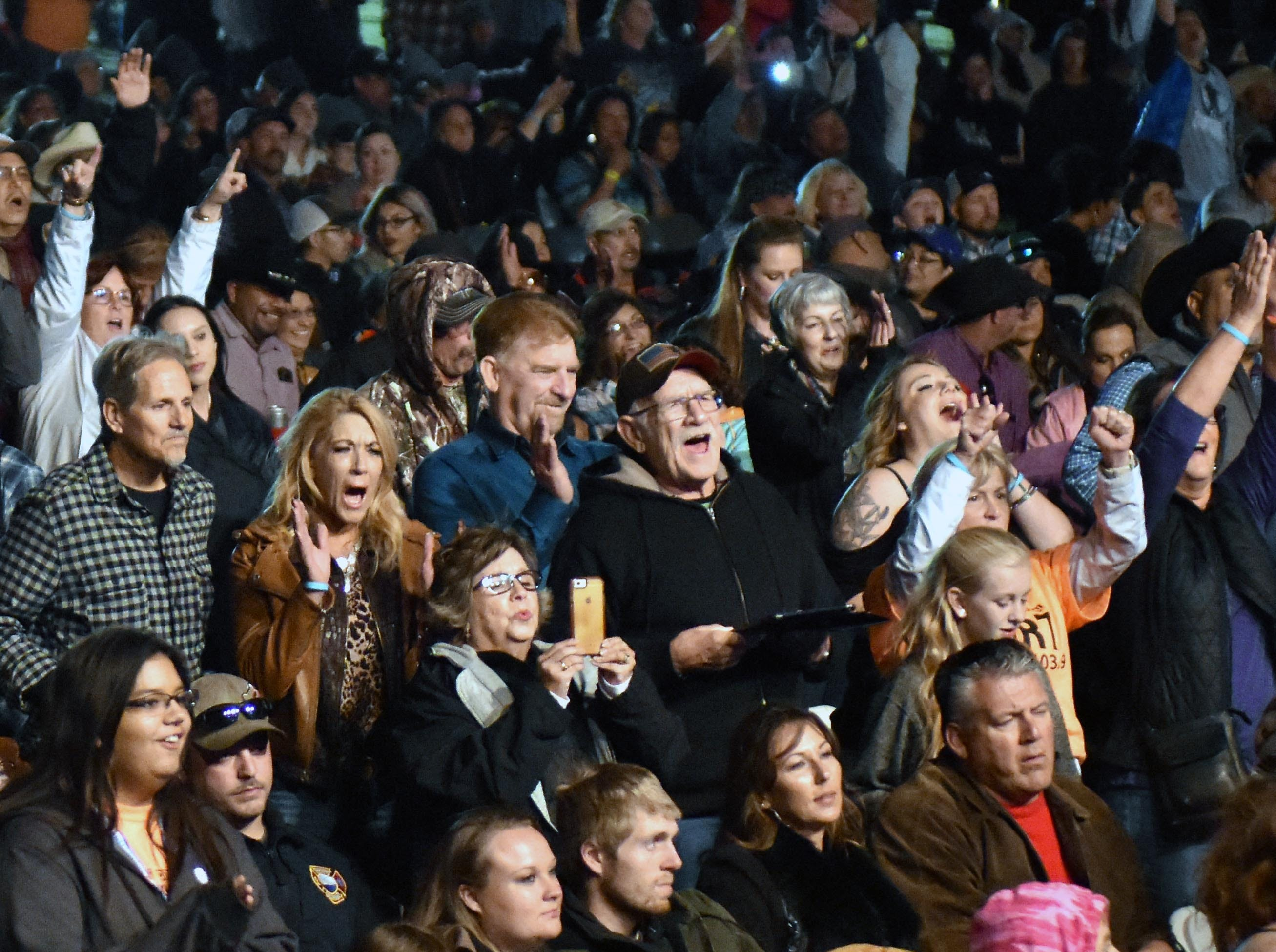The crowd reacts to the evening's festivities at the Las Cruces Country Music Festival on Saturday, Oct. 20, 2018.