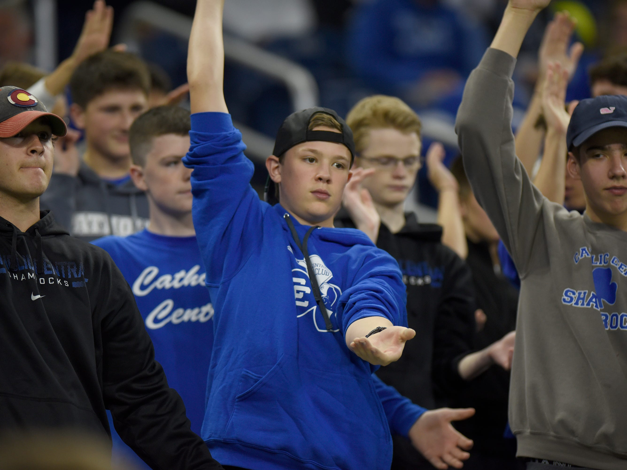 Detorit Catholic Central student section cheers on the Shamrocks during Catholic League Prep Bowl AB Division championship game at Ford Field Oct. 20, 2018.