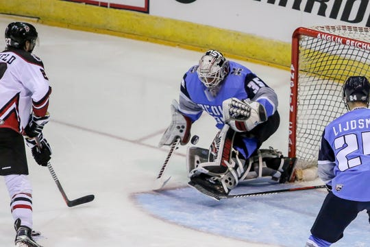 Pensacola goalie Andrew D'Agostini (35) blocks a Birmingham shot in the Ice Flyers' season home opener on Saturday, October 20, 2018, at the Pensacola Bay Center. The Ice Flyers led 2-0 in the second period, but the Bulls scored three unanswered goals to win the game in front of over 7,200 fans, the largest home opener in the team's history.