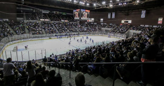 Pensacola takes on Birmingham in the Ice Flyers' season home opener on Saturday, October 20, 2018, at the Pensacola Bay Center. The Ice Flyers led 2-0 in the second period, but the Bulls scored three unanswered goals to win the game in front of over 7,200 fans, the largest home opener in the team's history.