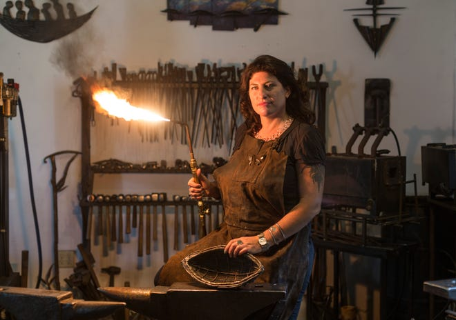 """Blacksmith Corrina Sephora is one of the artists participating in the """"Women of Fire"""" exhibit and demonstration."""
