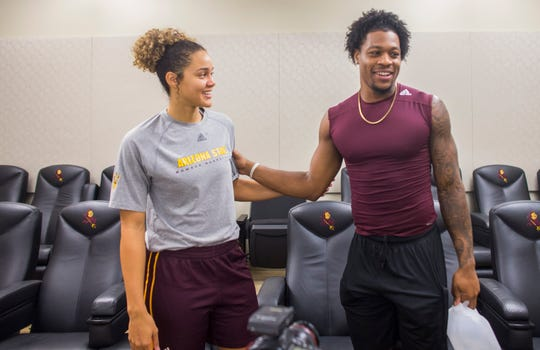 ASU's Kianna Ibis and N'Keal Harry talk about their relationship at the Weatherup Center in Tempe, Ariz. on October 13, 2018.