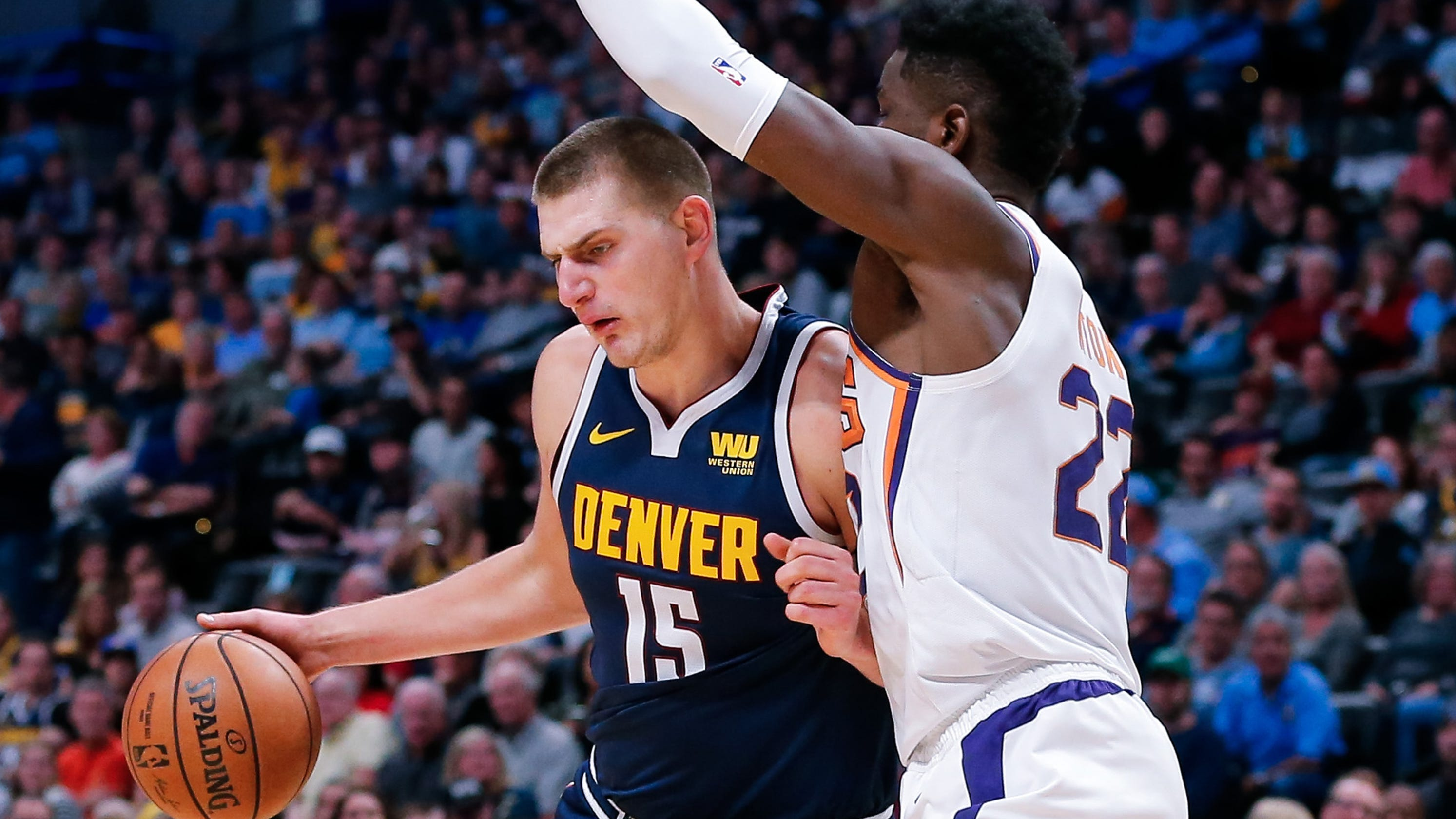 4a9685a77b6f Nikola Jokic shows Deandre Ayton how it s done in Suns  loss to Nuggets