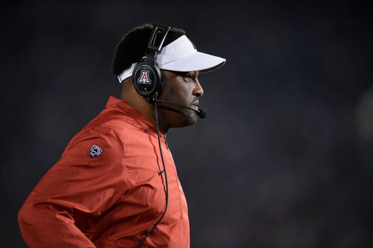 Oct 20, 2018; Pasadena, CA, USA; Arizona Wildcats head coach Kevin Sumlin looks on during the first half against the UCLA Bruins at Rose Bowl. Mandatory Credit: Kelvin Kuo-USA TODAY Sports