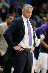 Suns coach Igor Kokoskov looks on during the fourth quarter of a game against the Nuggets on Oct. 20 at the Pepsi Center.