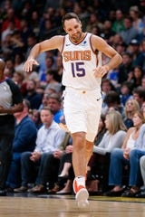 Oct 20, 2018; Denver, CO, USA; Phoenix Suns forward Ryan Anderson (15) reacts after a play in the second quarter against the Denver Nuggets at the Pepsi Center. Mandatory Credit: Isaiah J. Downing-USA TODAY Sports