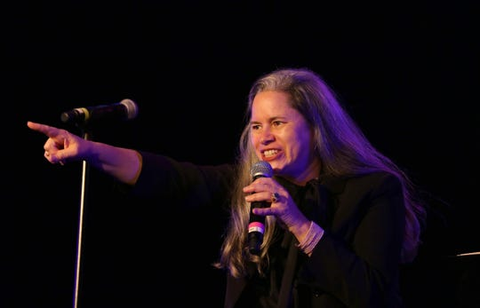 Singer Natalie Merchant, an Ulster County resident, performs during Hudson Valley Votes, a concert and rally held at the Ulster Performing Arts Center in Kingston Oct. 20, 2018. Performers, activists, and local candidates for office participated in the event.