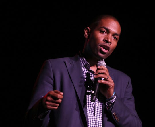 Congressional candidate Antonio Delgado, running against John Faso in the 19th congressional district, speaks during Hudson Valley Votes, a concert and rally held at the Ulster Performing Arts Center in Kingston Oct. 20, 2018. Performers, activists, and local candidates for office participated in the event.