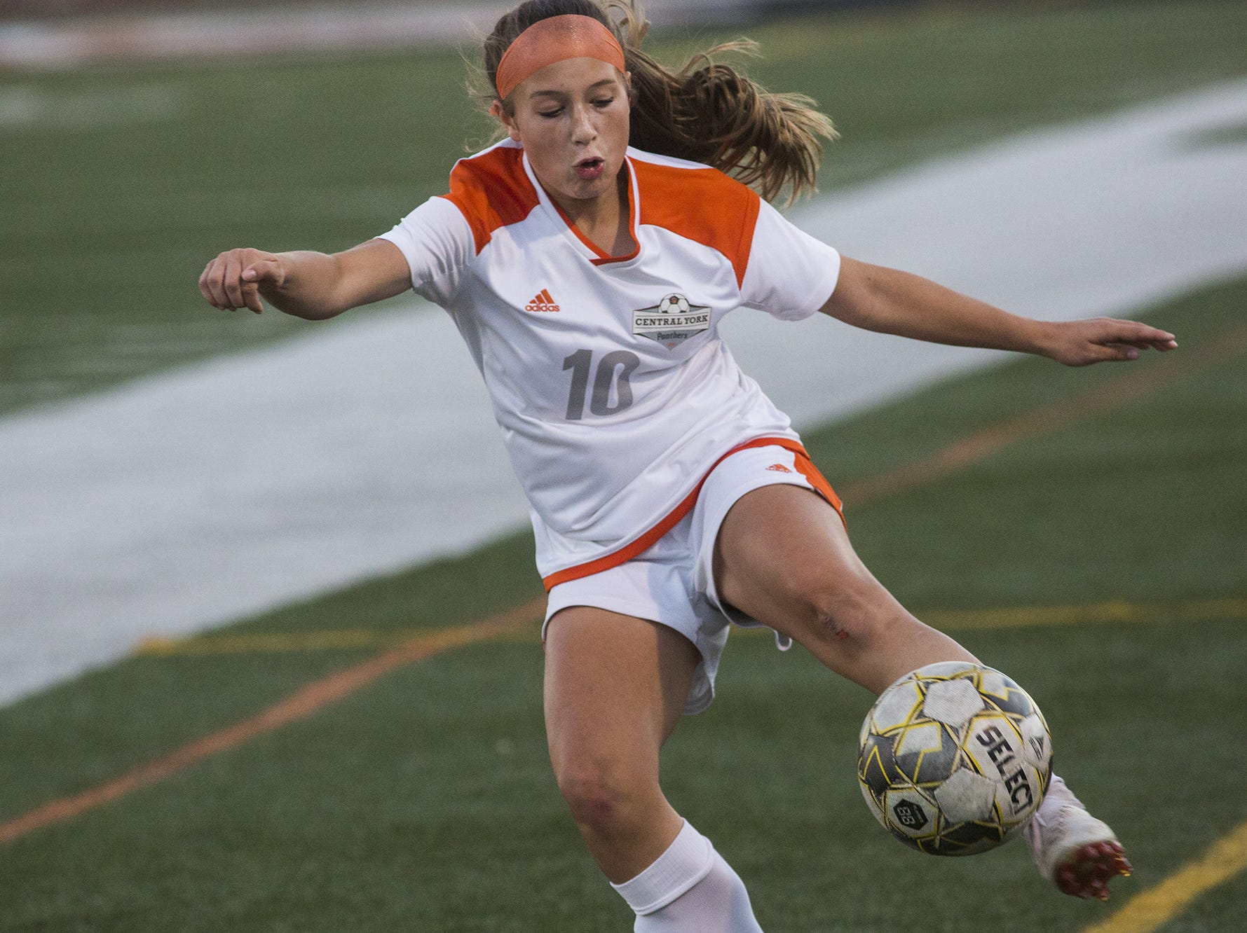 Central York's Ava Myers kicks the ball. Central York defeats Red Lion 1-0 in the YAIAA girls' soccer championship game at Northeastern High School in Manchester, Saturday, October 20, 2018.
